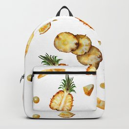 Cut pineapple into halfs - watercolor art Backpack