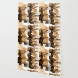 abstract pastel drawing in shades of brown grey and white Wallpaper