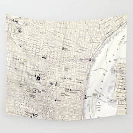 Vintage Map of Philadelphia (1885) Wall Tapestry