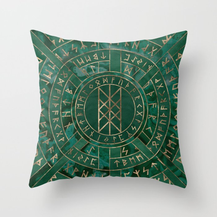 e0b42435d4882 Web of Wyrd - Malachite, Leather and Golden texture Throw Pillow by  k9printart