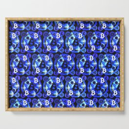 Cryptocurrency blue pattern Serving Tray