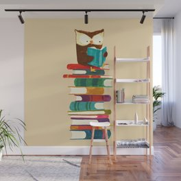 Owl Reading Rainbow Wall Mural