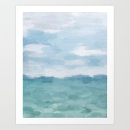 Mint Blue White Gray Abstract Wall Art Painting Art Print