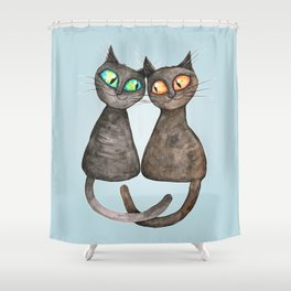 Two cute loving cats Shower Curtain