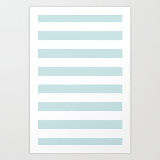 Ocean Blue Nautical Stripes Artsy Vintage Art Print
