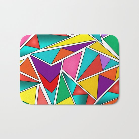 A colorful, abstract pattern polygons . Bath Mat