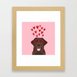 Chocolate Lab love heart glasses cute pet gifts valentines day labrador retriever Framed Art Print