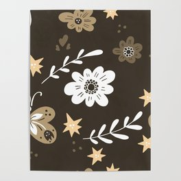 Dark Brown Pattern with White Flowers and light brown butterflies Poster