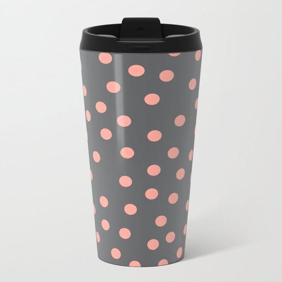 Simply Dots Salmon Pink on Storm Gray Metal Travel Mug