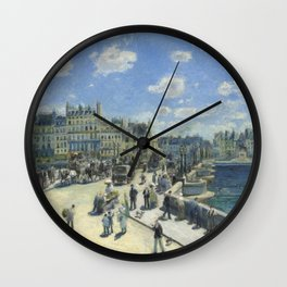 Auguste Renoir Pont Neuf, Paris 1872 Painting Wall Clock