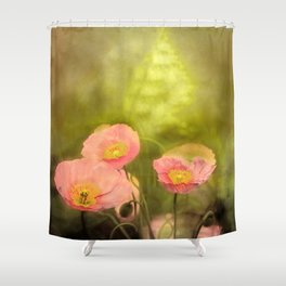 Pale peach poppy Shower Curtain