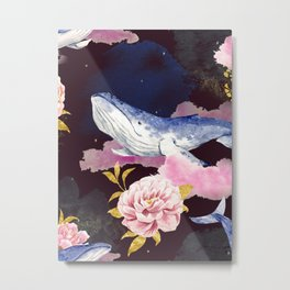 Beautiful Space Whale Galaxy Floral Pink Flowers Gold Dust Nebula Magical Fantasy Humpback Whale Metal Print