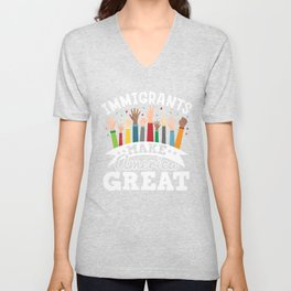 Pride Immigrants Make America Great Print Gift Unisex V-Neck