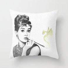 Audrey Hepburn and Her Dragon Throw Pillow