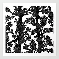 Romantic black trees Art Print