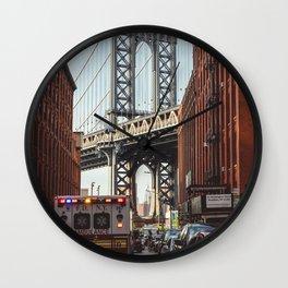 Gold hour rush in Brooklyn Wall Clock