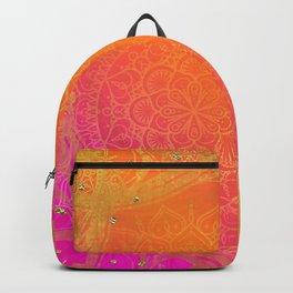 Fuchsia Pink Orange & Gold Indian Mandala Glam Backpack