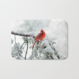 Cardinal on Snowy Branch #2 Bath Mat