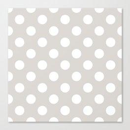 Timberwolf - grey - White Polka Dots - Pois Pattern Canvas Print