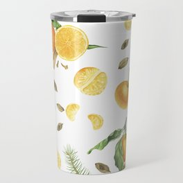 Tangerines, spices and branches of tree Travel Mug
