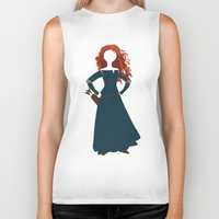 merida Biker Tanks featuring Merida from the Brave by Alice Wieckowska