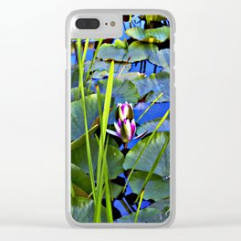 Blue AQUATIC DREAMS of Water Lillies Clear iPhone Case