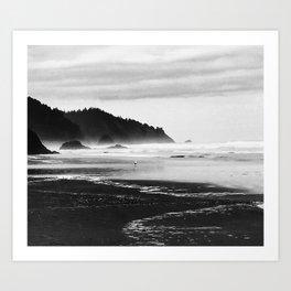 Black and White Seascape At Hug Point Art Print