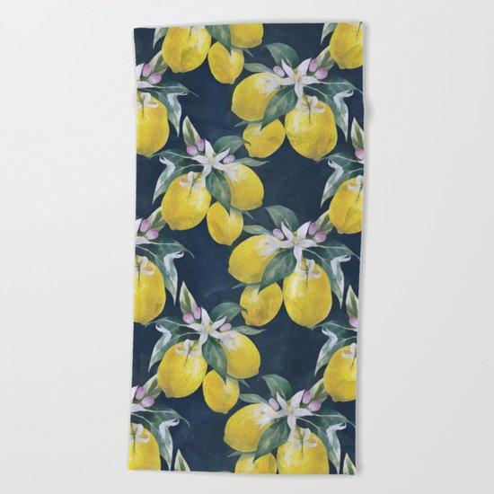 Lemons pattern Beach Towel