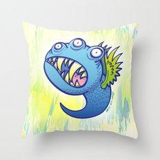 Terrific winged little blue monster Throw Pillow