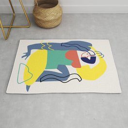 Maximalist figure abstract colorful Rug