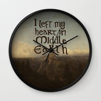 lotr Wall Clocks featuring I Left My Heart in Middle Earth by Leah Flores