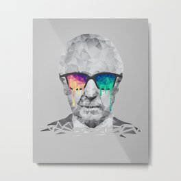 Albert Hofmann - Psychedelic Polygon Low Poly Portrait Metal Print