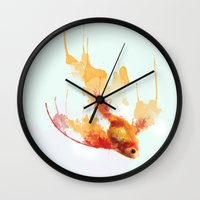 goldfish Wall Clocks featuring GoldFish by Carlos Asensi