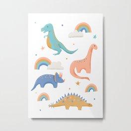 Dinosaurs + Rainbows in Blush Pink + Gold + Blue Metal Print