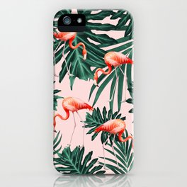 Summer Flamingo Jungle Vibes #1 #tropical #decor #art #society6 iPhone Case