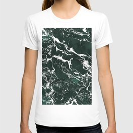 Dark green forest watercolor white marble christmas pattern T-shirt