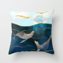 Sea Lions Playing with the Moon - Underwater Dreams Throw Pillow