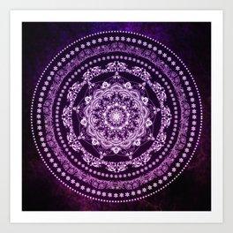 Purple Glowing Soul Mandala Art Print