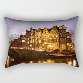 Amsterdam canal house architecture during Blue Hour Rectangular Pillow