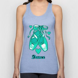 Love to Dance Teal Ballet Shoes Unisex Tank Top