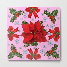 POINSETTIA SNOWFLAKES HOLLY HOLIDAY PINK DESIGN Metal Print
