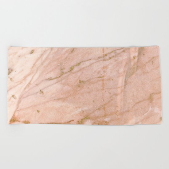 Pink marble with gold veins Beach Towel