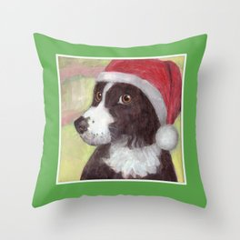 Santa Dog for Greeting Cards & More Throw Pillow