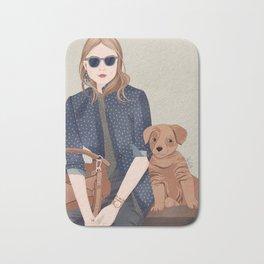 Lady In A Blue Blazer With A Puppy Bath Mat
