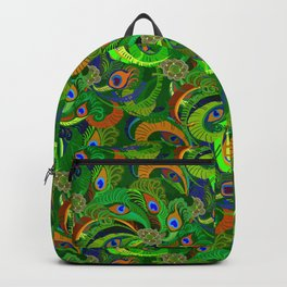 Peacock Neck Gator Green Retro Peacock Feathers Backpack