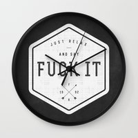 relax Wall Clocks featuring Relax by Janja Primozic