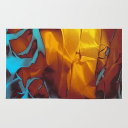 Cruising to Calisto. Orange and Teal Abstract. Rug