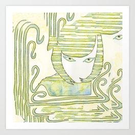 Eqyptian Style Girl Green Art Print