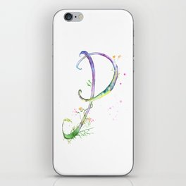 Letter P watercolor - Watercolor Monogram - Watercolor typography - Floral lettering iPhone Skin