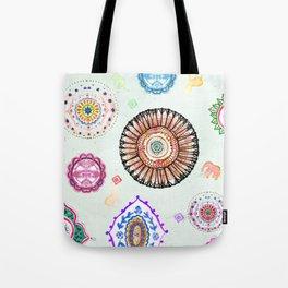 Bohemian Mandala Elephant (light) Tote Bag